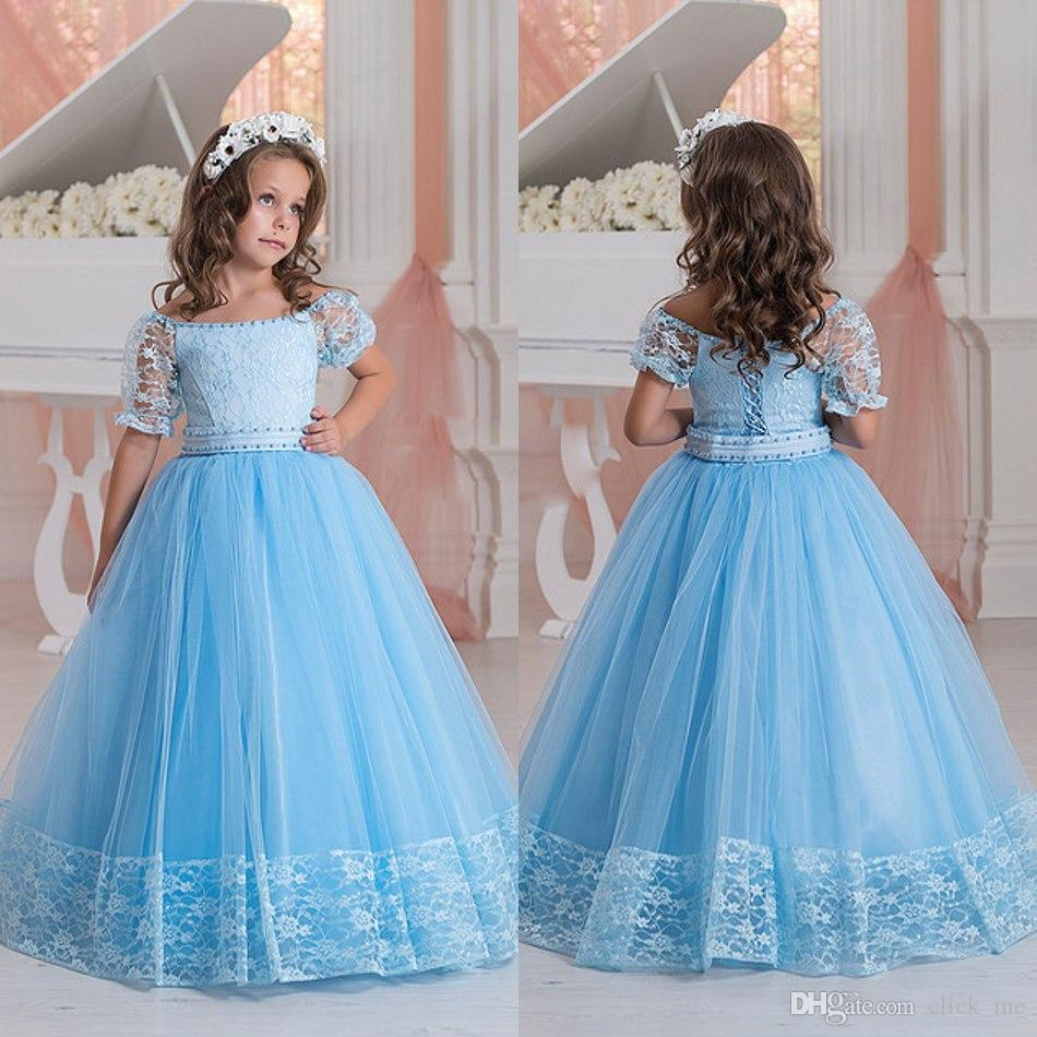 Light Blue Flower Girls Dresses Off Shoulder Short Sleeves Lace