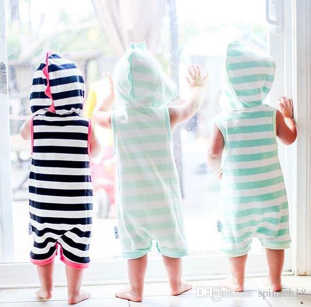 Ins Mignon Infantile Bébé Barboteuses Garçons Filles Rayé À Capuchon Barboteuses Enfants En Bas Âge Bébés Climb Vêtements Enfant Salopette Combinaisons 3196