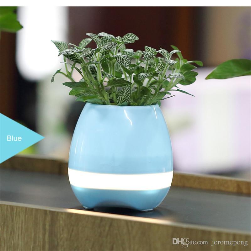 MJJC Smart Music Flowerport Altavoces Bluetooth con LED Interacción de plantas de luz multicolor para teléfonos inteligentes sin plantas