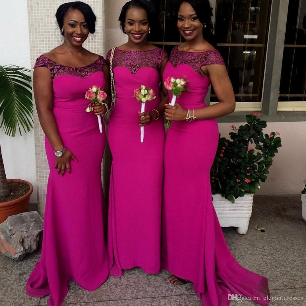 Hot pink plus size african wedding bridesmaid dresses 2017 mermaid hot pink plus size african wedding bridesmaid dresses 2017 mermaid maid of honor gowns popular african wedding maids formal party dresses green bridesmaids ombrellifo Images