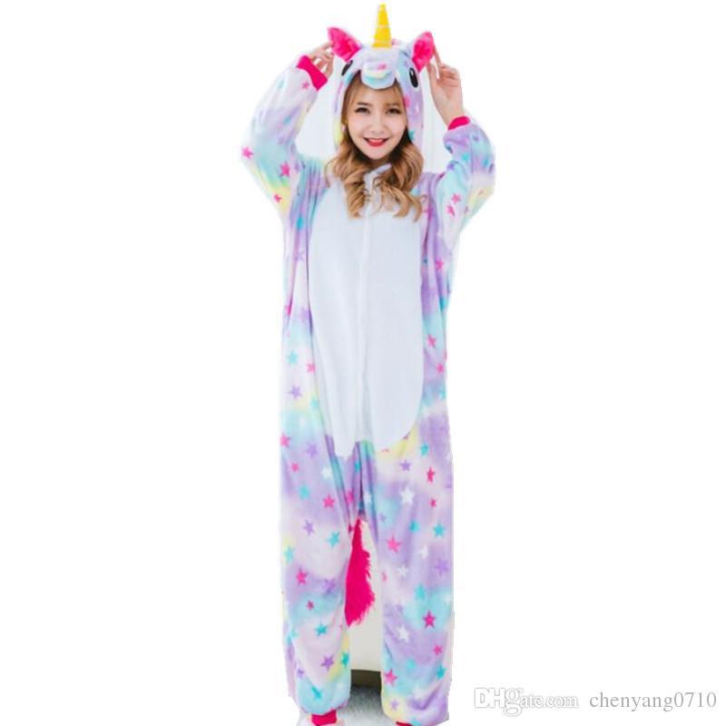 여자의 코스프레 의상 및 겨울 Flano Pajamas 별 또는 무지개 유니콘 Onesies Kigurumi Jumpsuit 후드 성인 할로윈 파티 의류