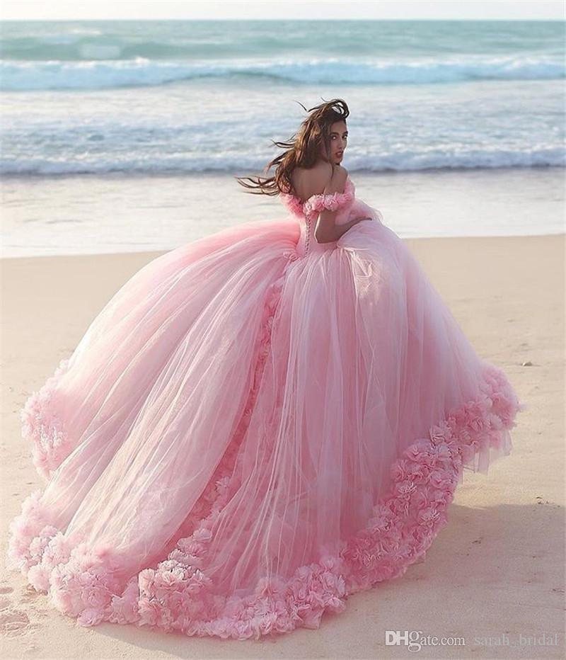 Princess Pink 3d Floral Ball Gown Wedding Dresses 2018 Off Shoulder ...