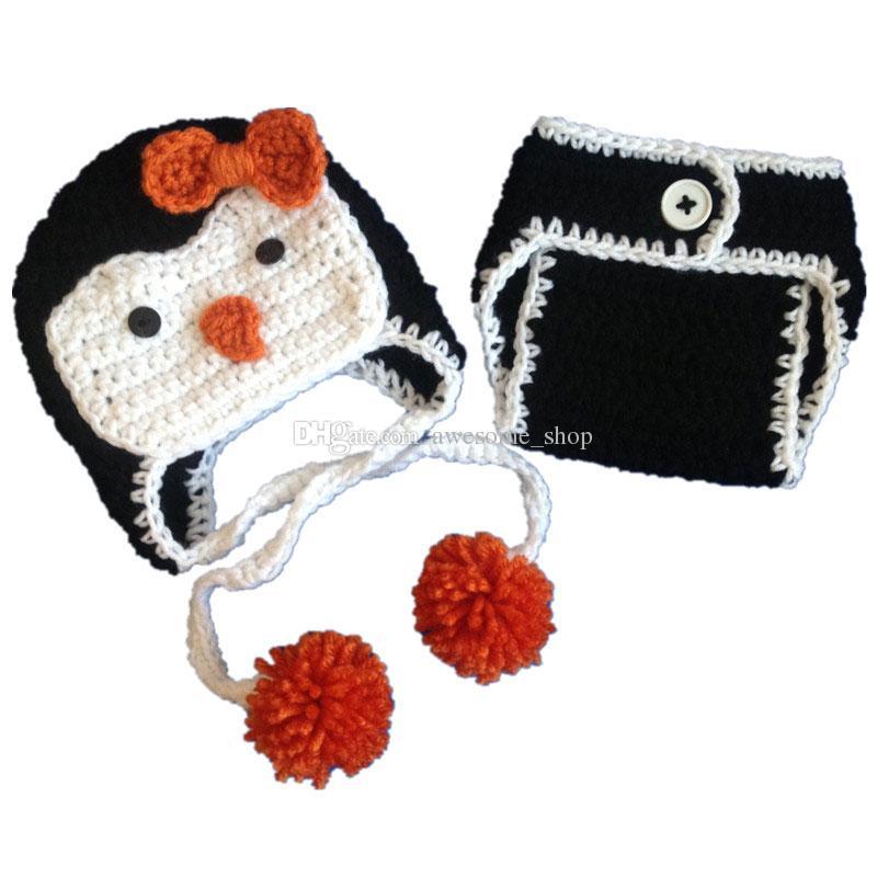 2019 Newborn Penguin Costumehandmade Knit Crochet Baby Girl Pom Pom