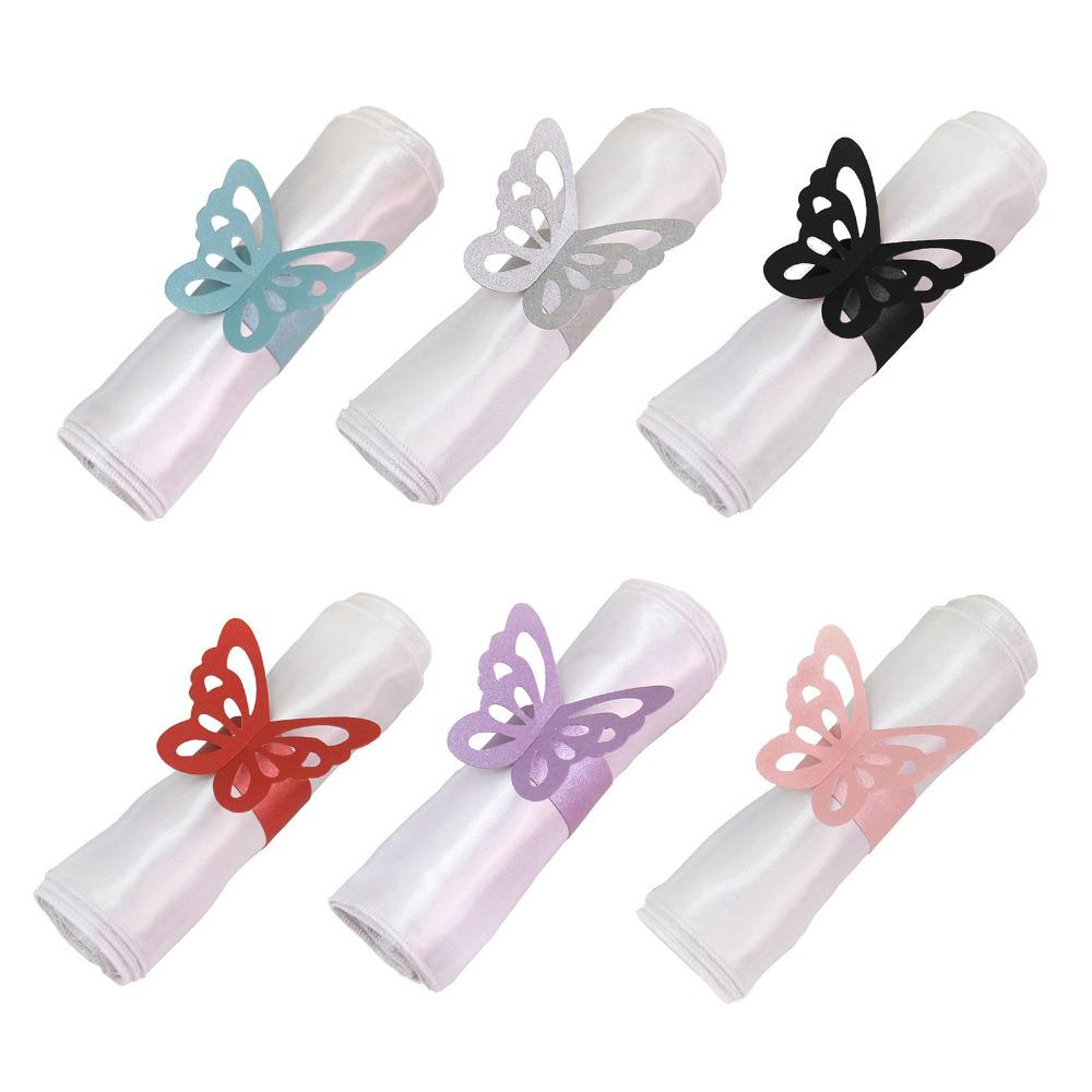 Wholesale-50pcs Laser Cut Butterfly Shape Napkin Rings for Dinners Lunch Tables Home Wedding Birthday Date Anniversray Party Decorations