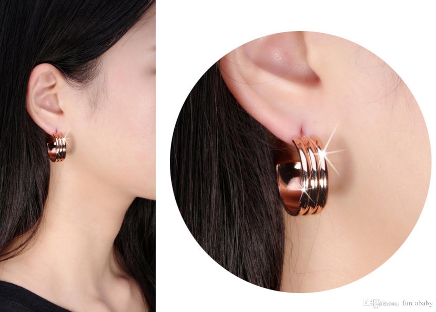 Frauen Edelstahl J Hoop Huggie Ohrringe Ohrstecker Rosegold Silber Schöne Schmuck Ohrringe Freies Verschiffen