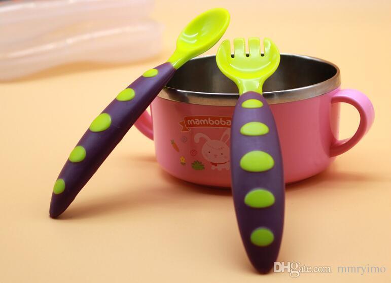 / серия Младенец Твердая Кормление Flatware Новорожденного Ложка вилка Набор Dot Дети Посуда Посуда Столовые приборы безопасности
