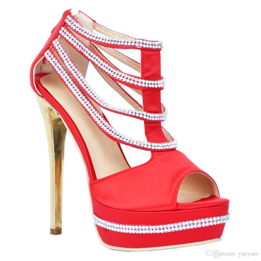 Zandina Womens Fashion 14.5cmのぞきのトゥーラインストーンジュエリーデコハイヒールプラットフォームサンダルシューズ赤XD186