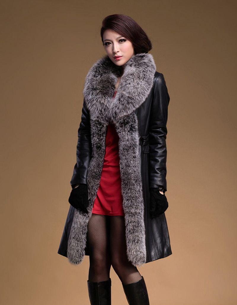 b444359caae 2019 Brand New Woman S Winter Fashion Genuine Sheepskin Down Leather Coat  Huge Natural Fox Fur Collar Long Leather Jacket Women GQ299 From Bichery