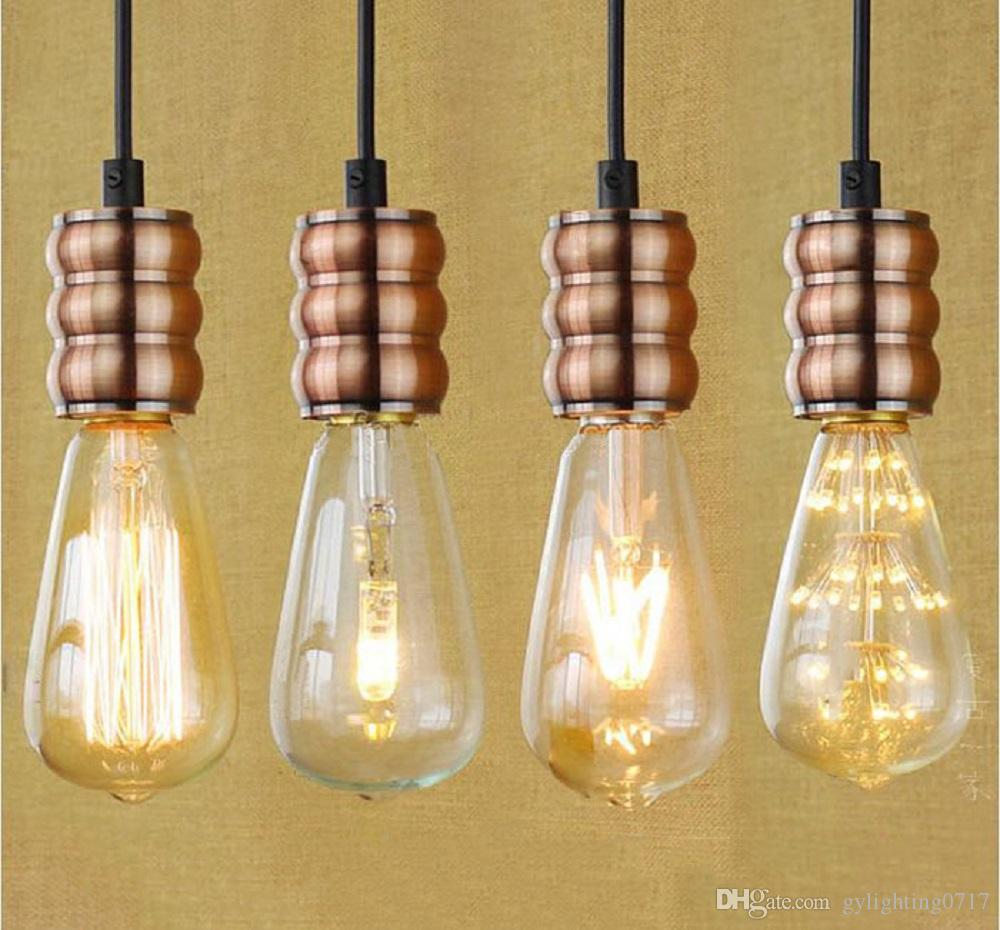 Industrial E27 Light Socket Art Design Vintage Retro Edison Bulb Pendant Lamp Holder With Hanging Wire 110v 240v For Home Decoration Rustic Lights