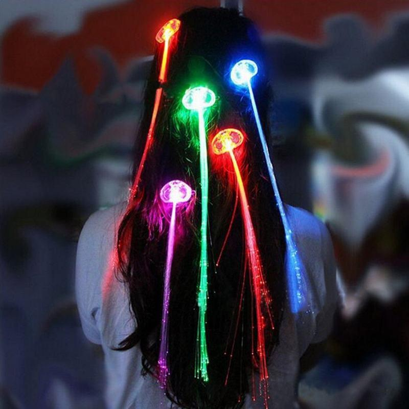 2018 Wholesale Pack Blinking Hair Clip Led Color Changing Fiber
