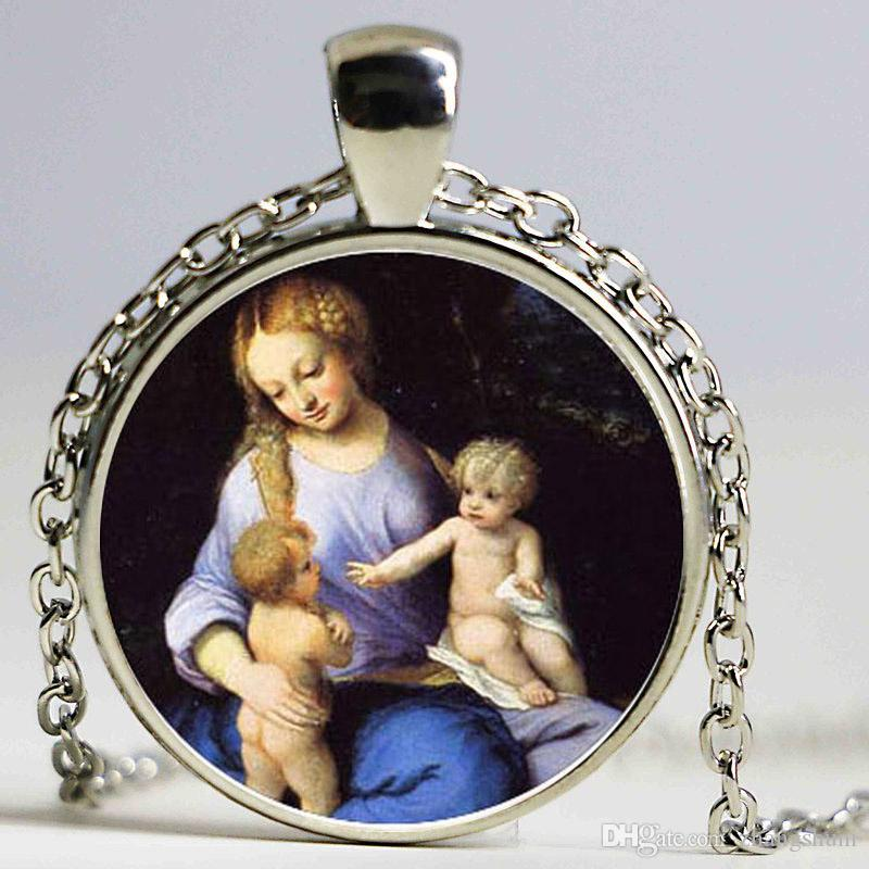6 Estilo Virgem Maria Mãe do Bebê Neckalce Jesus Cristo Cristão Jóia De Vidro Foto Colar Presente de Natal Colares de Moda Para As Mulheres