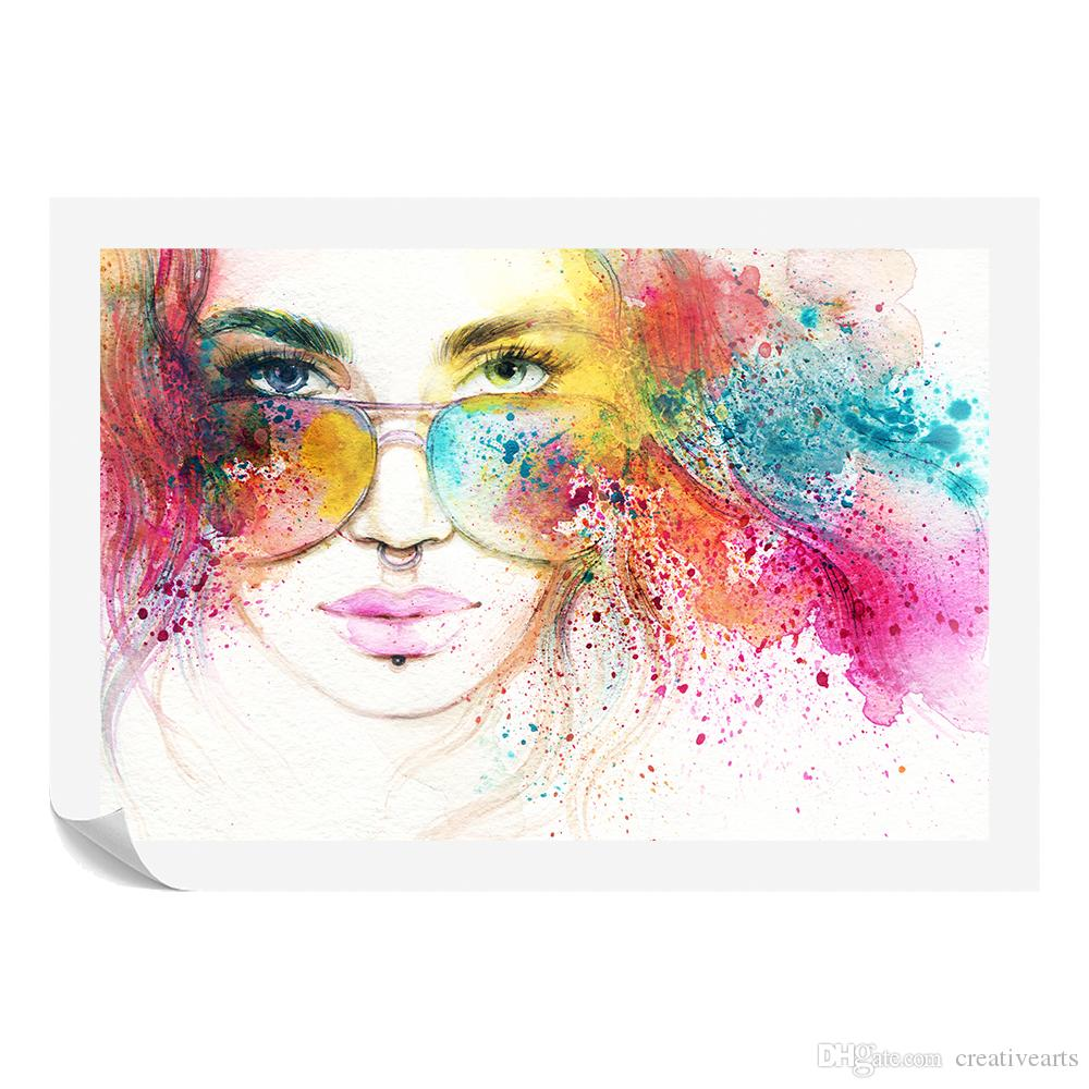 2018 watercolor woman painting prints custom canvas prints fashion wall hanging art unframed60cmx90cm from creativearts 17 98 dhgate com