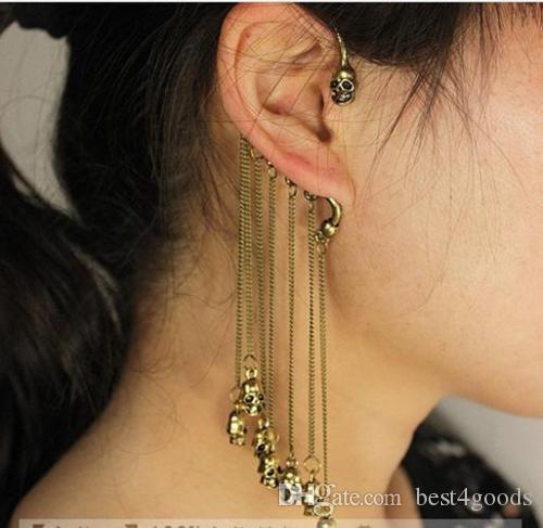 Mode Punk Rock Gothique Skull Fringe Tassel unisexe d'oreille boucle d'oreille Earhok Dangle Boucles d'oreilles clip