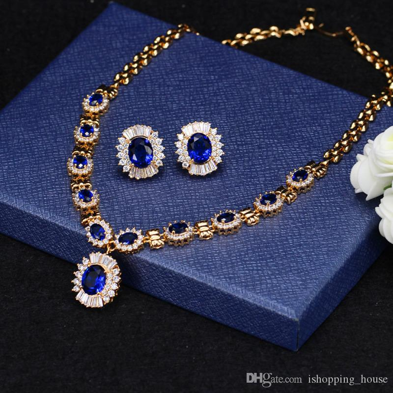 Europe and America Luxury Women Party Jewelry Set White Yellow Gold Plated CZ Earrings Necklace Set for Bride LY-023