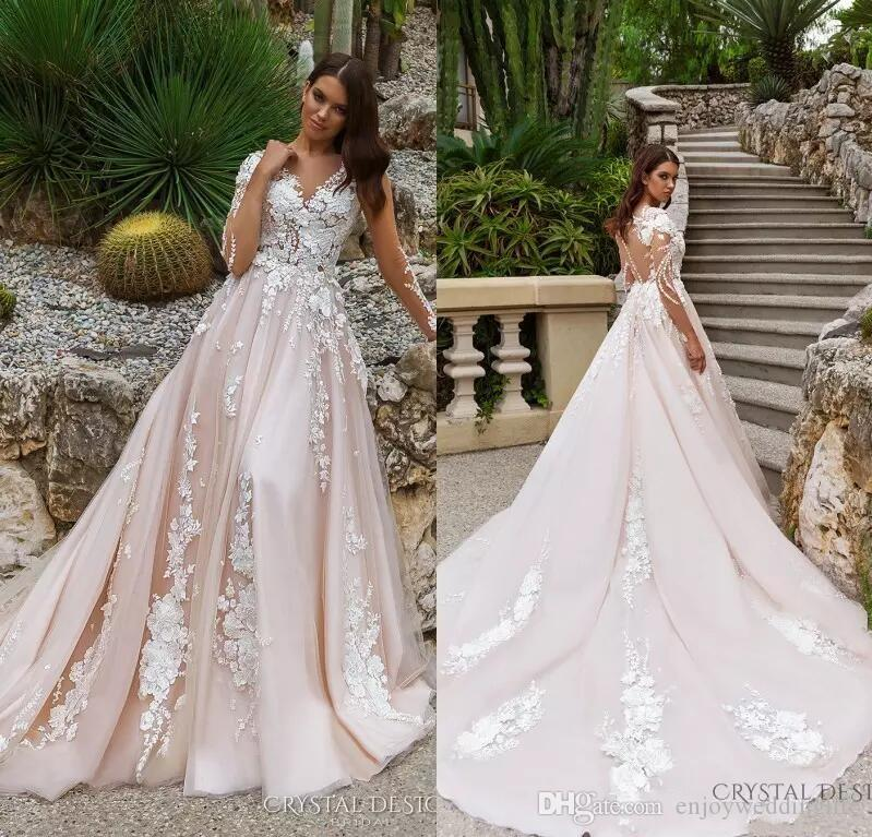 9f4442a12978 Discount Luxury Blush Pink A Line Wedding Dresses 2018 New Country Style  Sheer Long Sleeves Illusion Back Lace Appliques Bridal Gowns Custom Made  Gown ...