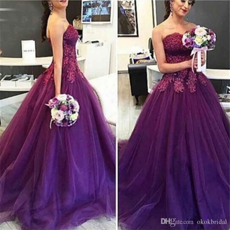 Vintage Purple Gothic Ball Gown Wedding Dresses With Cloak: Off Shoulders Sweetheart Purple Ball Gown Prom Dress 2019