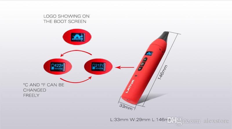 100% Genuine Airistech Lativa Kit Dry Herb Vaporizer OLED Digital Display Full Ceramic Heating Chamber 2200mAh Li-polymer Battery DHL