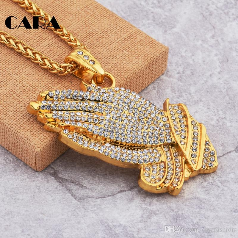 CARA New Rhinestones Praying Hands Hiphop Bling Necklace Mens Gold Religous Jewlry Iced Out Prayer Jesus Women Men Gift CAGF0169