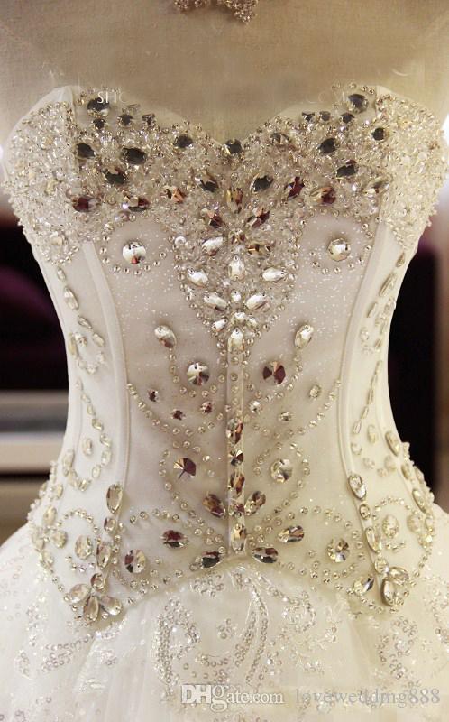 2018 Sparkly Bling cristalli abiti da sposa immagine reale A Line Sweetheart cappella treno abiti da sposa su misura