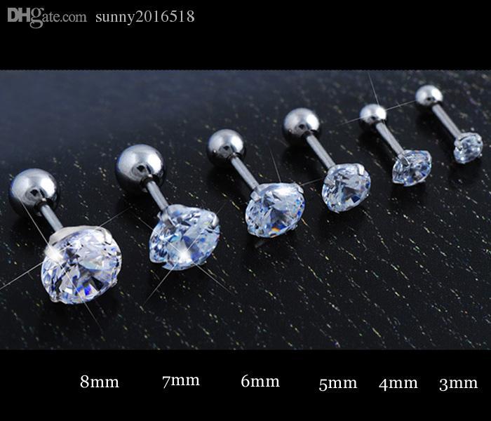 3mm-8mm Silver Gold Black Titanium Steel Barbell Cubic Zircon Cartilage Helix Tragus Lip Stud Earring Body Piercings Jewelry Wholesale