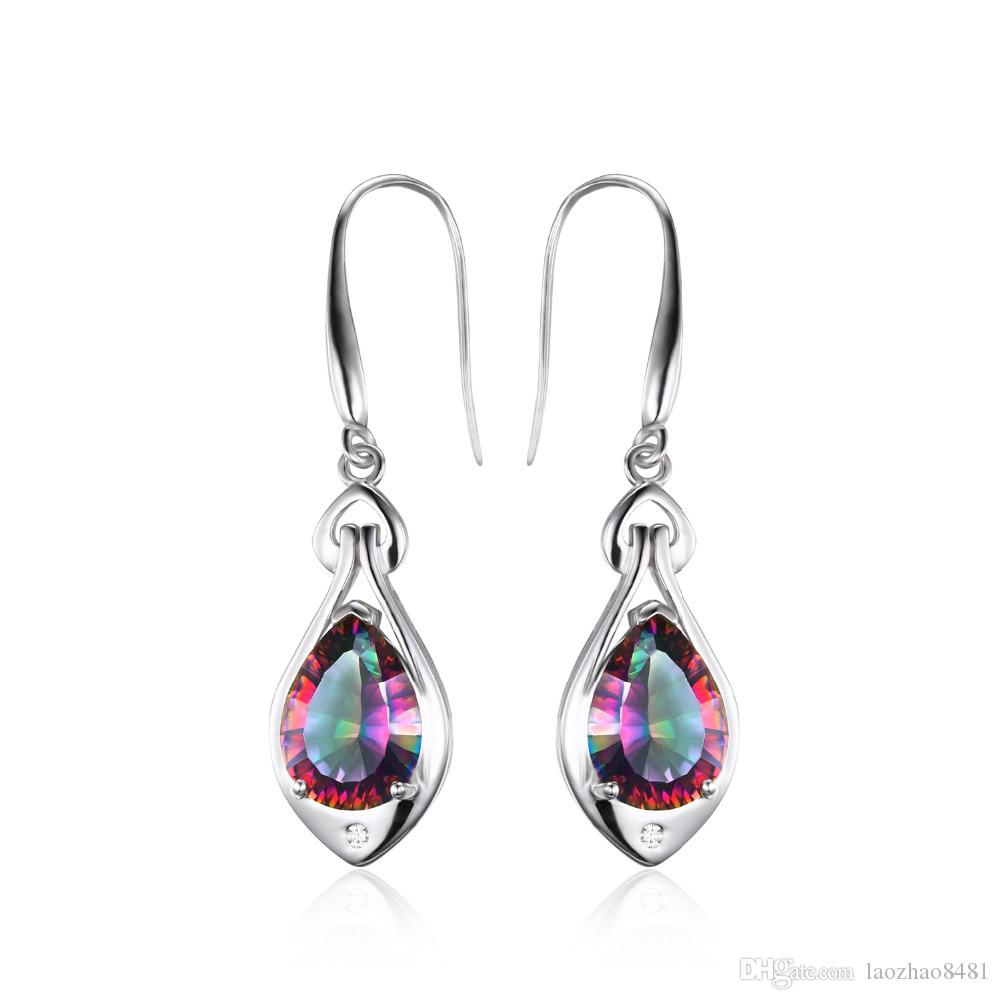 9bc42f218 2018 Water Drop 6.8ct Rainbow Fire Mystic Topaz Dangle Earrings Pure 925  Sterling Silver New Fine Jewelry For Women From Laozhao8481, $15.0 |  Dhgate.Com