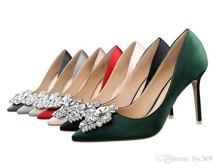 Diamond high-grade fine silks and satins pointed high-heeled shoes with light mouth single shoes red sexy female green bride wedding shoes