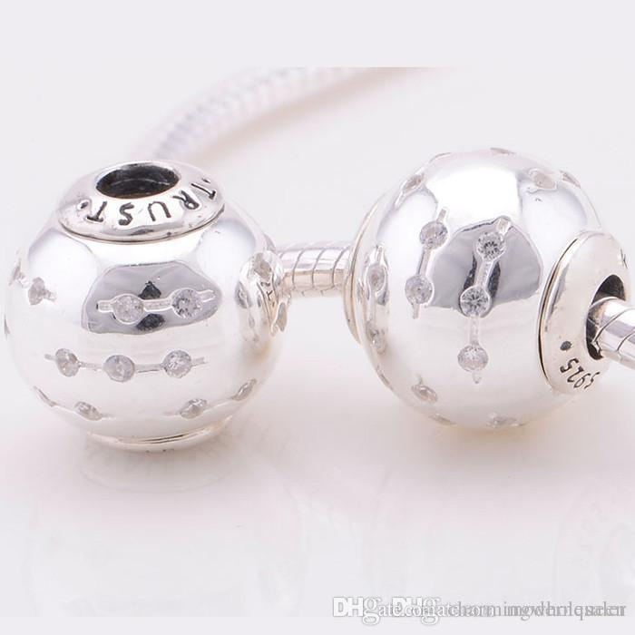 smooth stopper beads european S925 sterling silver fits DIY pandora style bracelet hot sale ST101