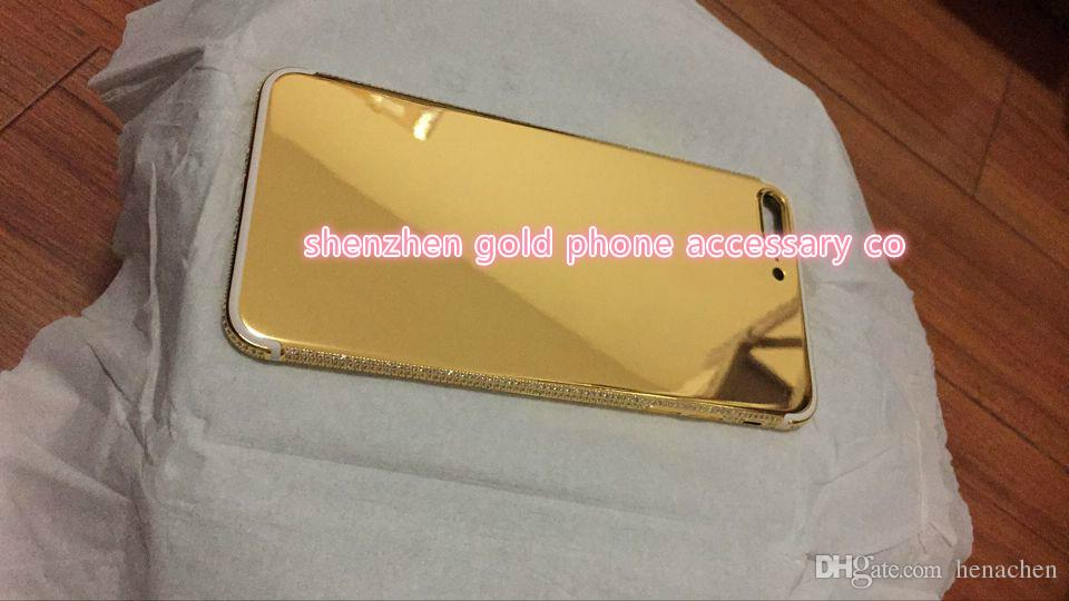 Real Gold Diamond Plating Back Housing Cover Skin Battery Door For iPhone 7 7+ 2017 new luxury 24k gold housing for iphone 7 7 plus