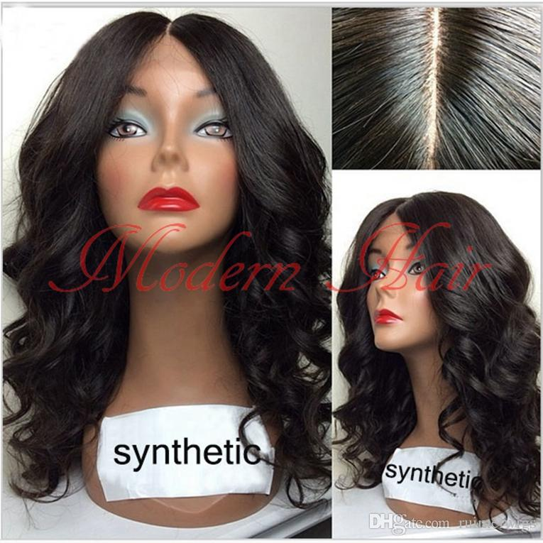New Hair Style Synthetic Lace Front Wigs 1# With Baby Hair Long Body Wave Front Lace Wig Synthetic None Lace Wig Heat Resistant