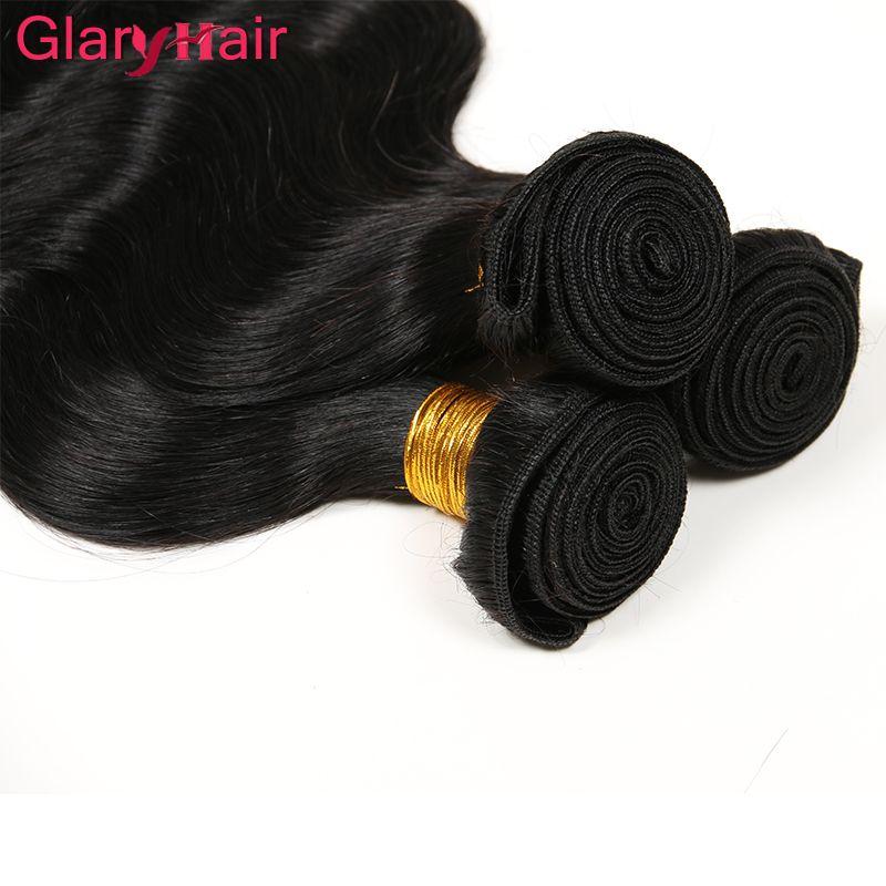 GLARY 6 UNIDS DOBLE SHAFTS WEAVE BUBICO Brasileño Virginal Cuerpo onda Húmedo y ondulado Extensiones de cabello humano Malasia Paquete de pelo brasileño