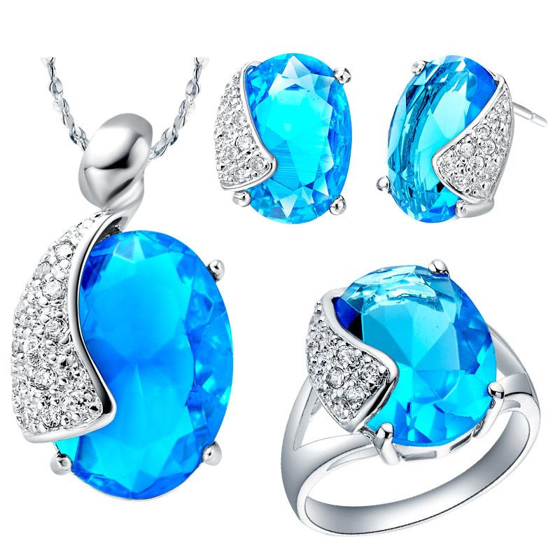 925 Sterling Silver pendant Earrings ring Women Gift word Jewelry sets NEW white gold with purple crystal suit made marine Sapphire Neckl