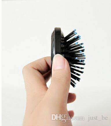 New Girls Portable Mini Folding Comb Airbag Massage Round Travel Hair brush With Mirror Cute