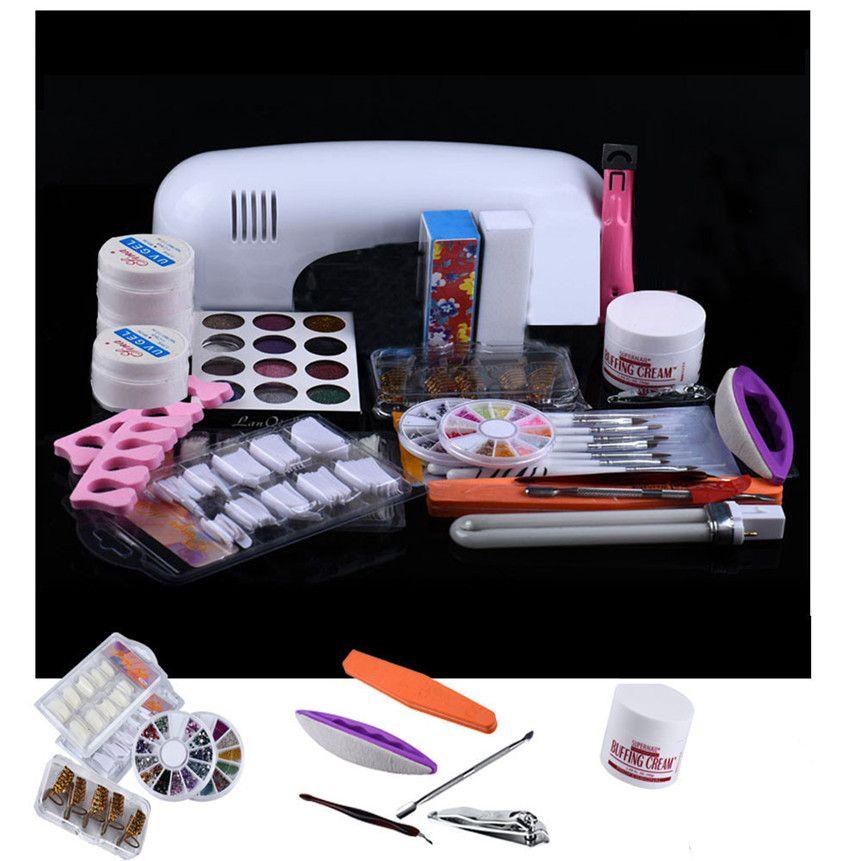 Wholesale Colorwomen 21 In Pro Diy Uv Gel Nail Art Kit 9w Lamp Dryer ...