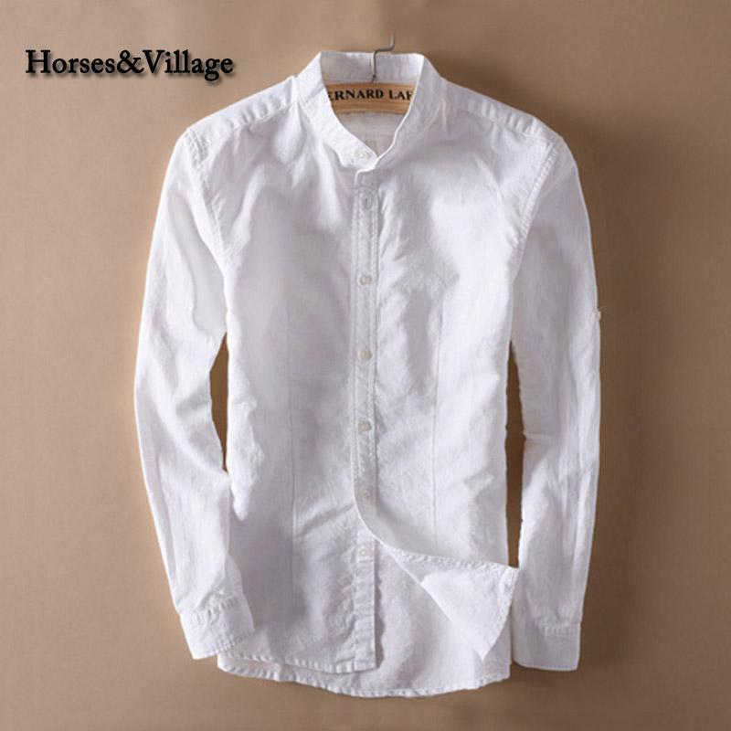 Fantastic 2018 Wholesale Men White Linen Shirt Stand Collar Chinese  WJ67