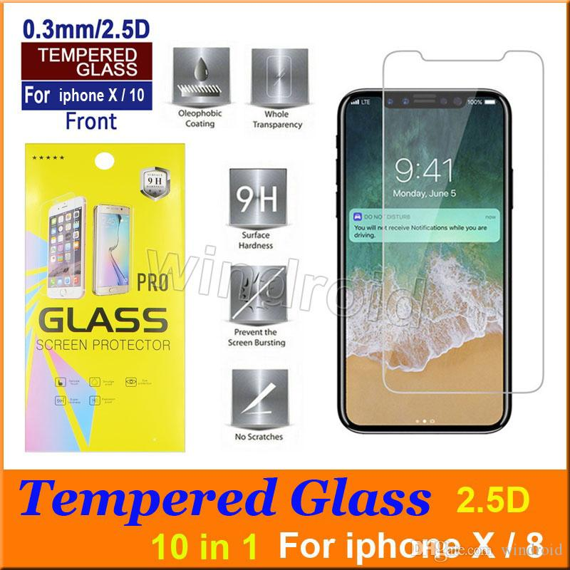 "Tempered Glass Screen Protector Film Guard 9H Hardness Explosion Shatter Film Protector For iPhone XS XR MAX X 10 8 7 plus 6S 5.8"" 6.5"""