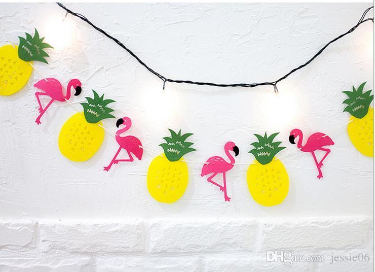 Hawaiano Tropical Flamingo Piña Banner Bandera de Fieltro Guirnalda Bunting Fiesta de Verano Boda Navidad gallina noche baby shower Decoración