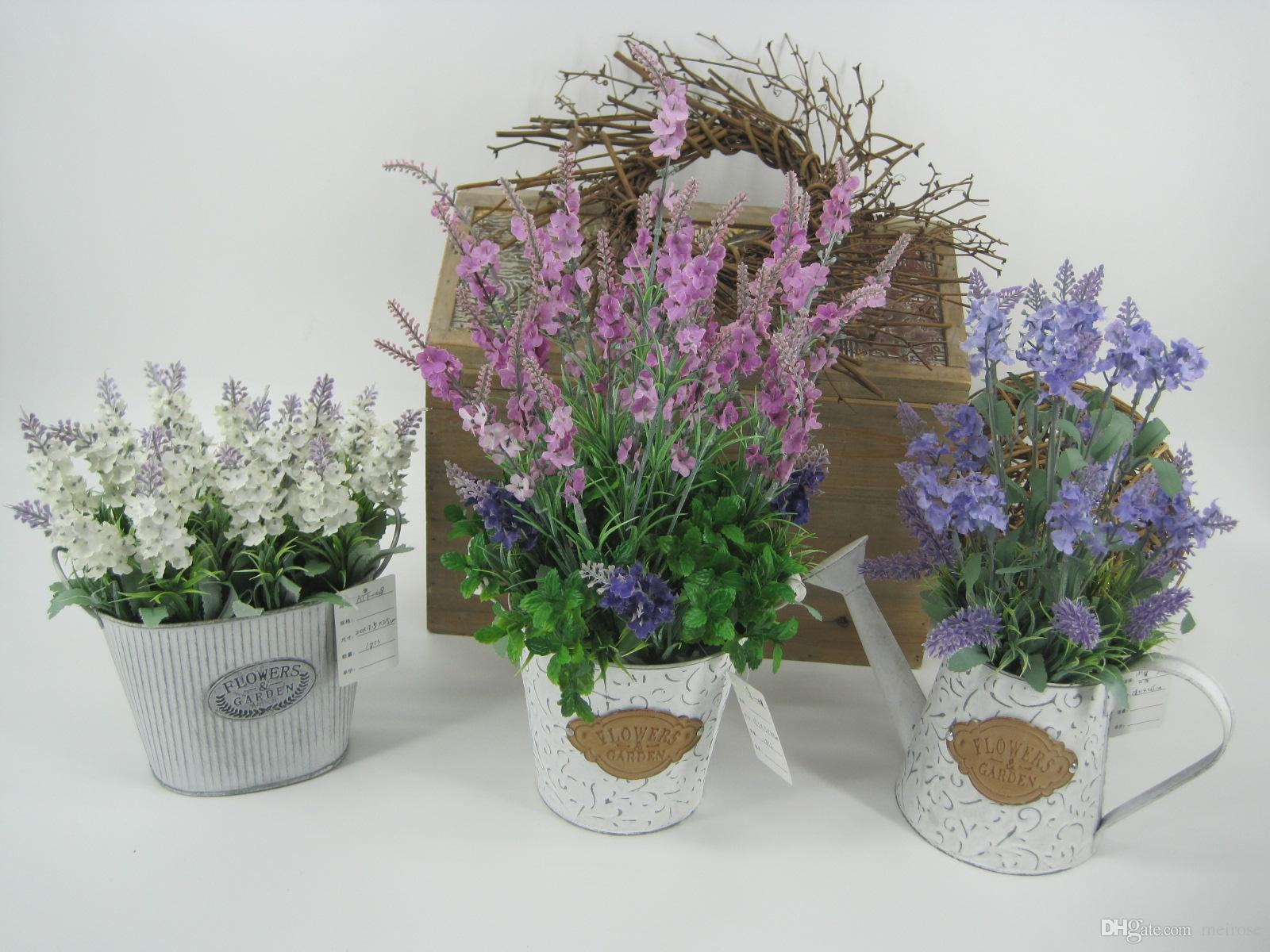Artificial Lavender Plants With Metal Pots Table Flower Whitewashed Potted plant for Wedding Holiday Special days Home Decor 125 -1066