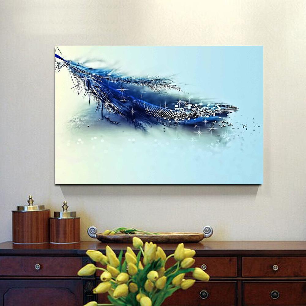 Satın Al Elmas Mavi Tüy Modern Tuval Boyama Ev Dekor Oturma Odası