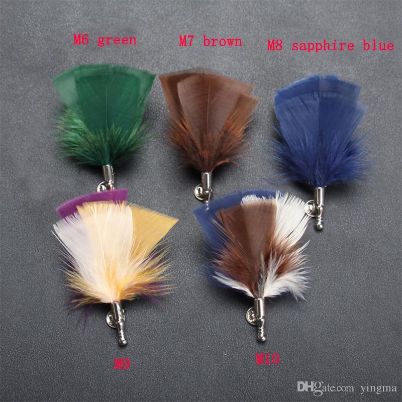 New Bohemian Men Feather Broche Fleur Revers épingle costumes Boutonnière animaux plume bouton mâle Broches Bijoux garçons d'honneur cadeau de mariage