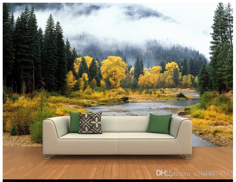 Hohe Qualität Benutzerdefinierte 3d foto tapetenwandbilder tapeten 3 d zypresse bäume flüsse hintergrund wandmalereien dekoration wohnzimmer tapete