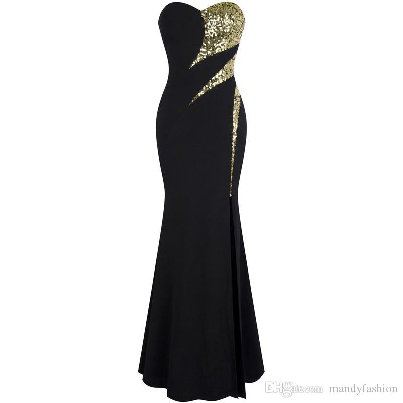 037e5a5889d35 Angel-fashions Women s Strapless Sweetheart Splice Golden Sequin Split  Evening Dress Party Dresses New Arrival Black 368