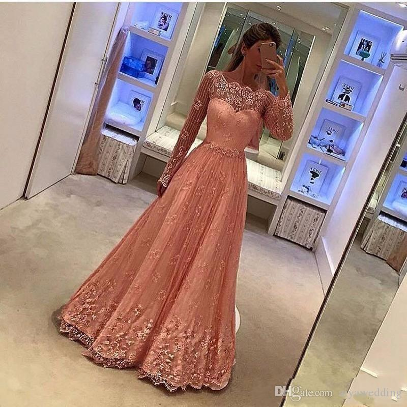 New Hot 2019 Elegant Pink Lace Evening Dress Custom Women A-Line Muslim Long Sleeve Vestido De Festa High Quality Evening Gowns