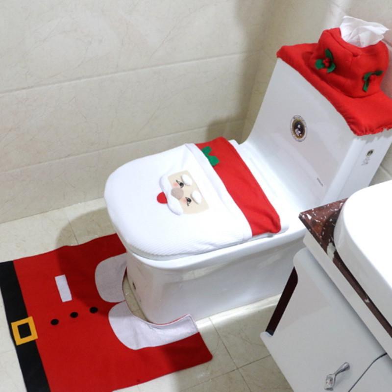Cuarto de baño de Navidad cubre decoraciones decoración de cojín de asiento  de Santa Elk Cuarto de baño Closestool tela de tapicería titular de ...