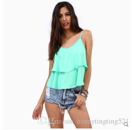 European fashion new summer women's spaghetti strap chiffon mint green candy color ruffles sleeveless top tank vest plus size XXL