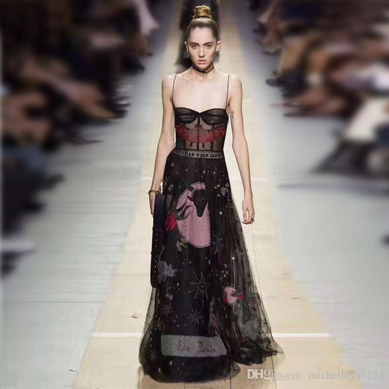 Dress Runway 2017 Black Spaghetti Cinghie Celebrity Style Dress Dress Mesh Bat Ricamo perline Vestidos de Festa N011