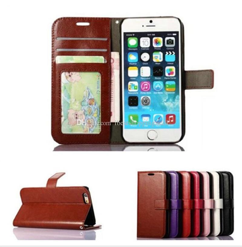 Di buona qualità Custodia portafoglio in pelle PU portafoglio con 3 slot schede e cornice iPhone X 8 7 6 6S Plus Sa Samsung S7 edeg S8 Plus Nota 8
