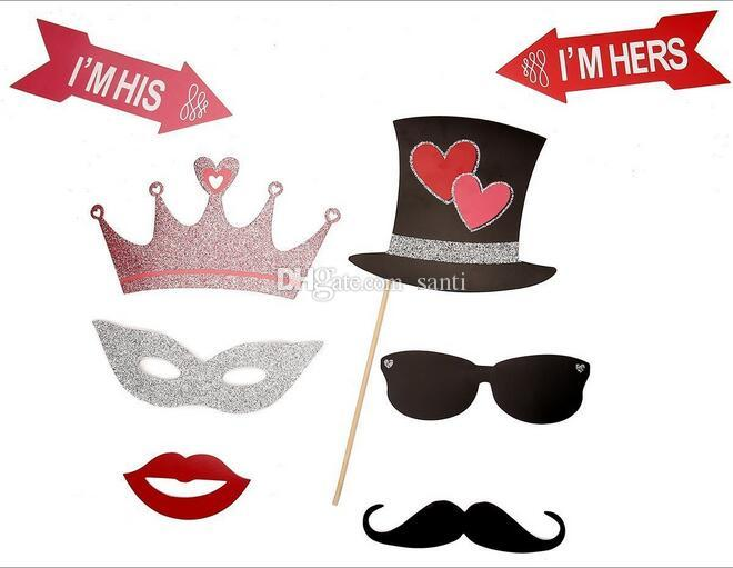 New Just Married Photo Booth Props Photobooth Wedding Favors Glasses Paper Card Funny Mask Party Decoration Photocall