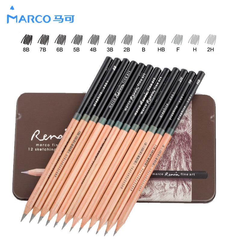 Marco 2h 9b craft pencils drawing sketching pencil set for school student sketch gift stationery art supplies lapis de cor sketch pencil fashion design