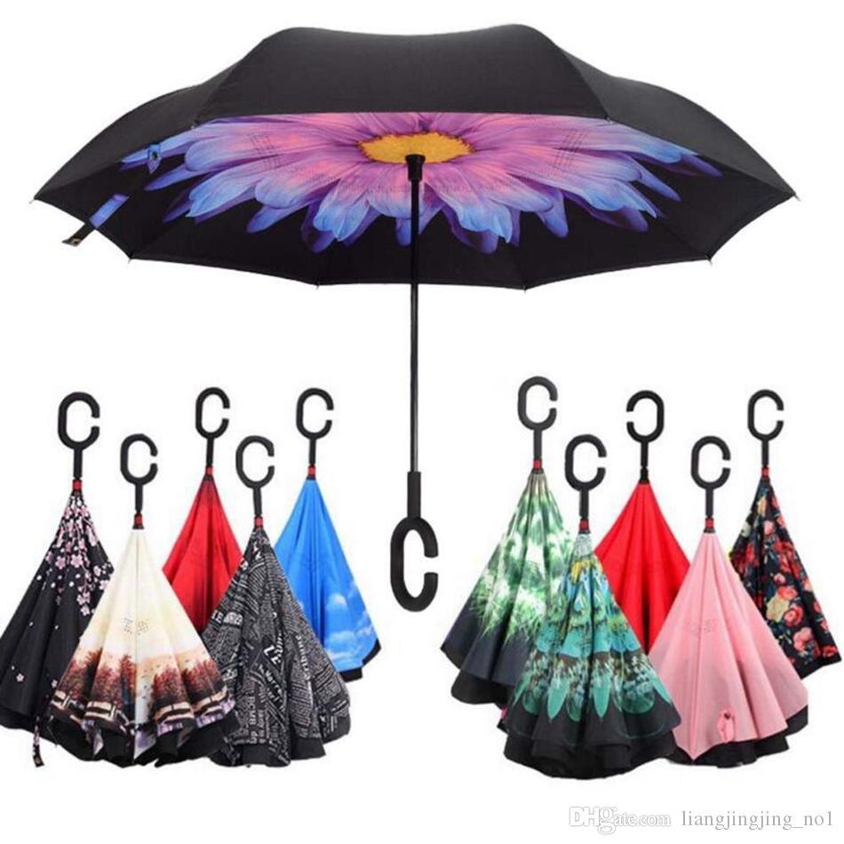 Ombrello piegato a rovescio doppio rovesciato Ombrello a C con manico rovesciato interno antivento Ombrello da pioggia pieghevole Ombrellone OOA3103