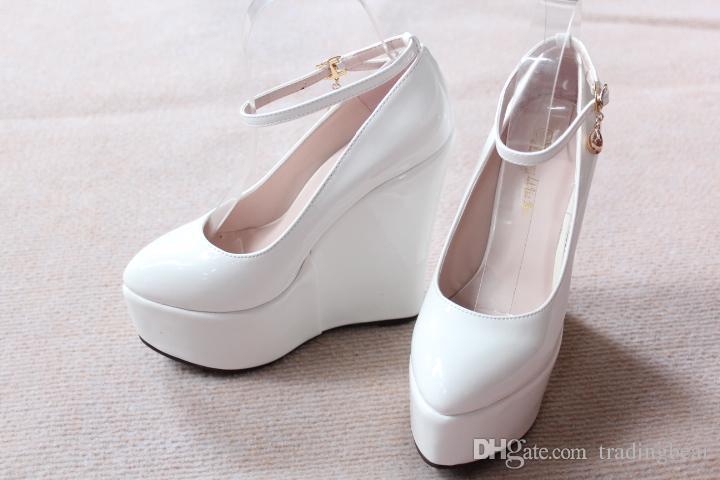 Personaliseer bruid bruiloft schoenen 5.5cm hoge platform wiggen hak schoenen maat 30 tot 43